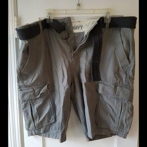 Grey Cargo Shorts With Belt
